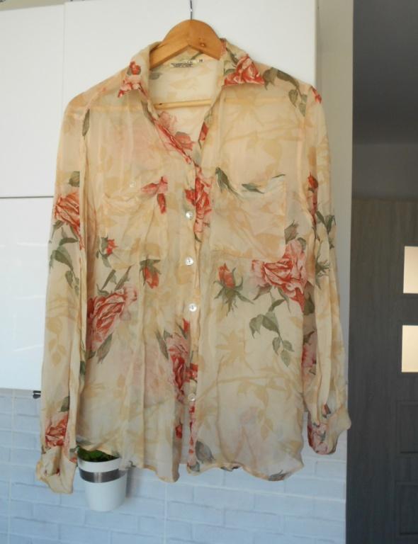 vintage koszula mgiełka floral kwiaty
