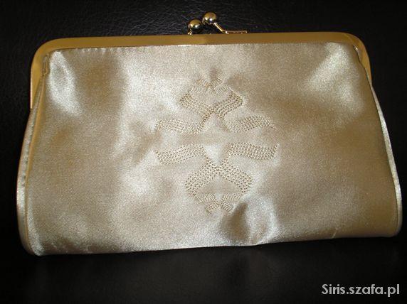 Nowa satynowa torebka kopertówka złoty beż