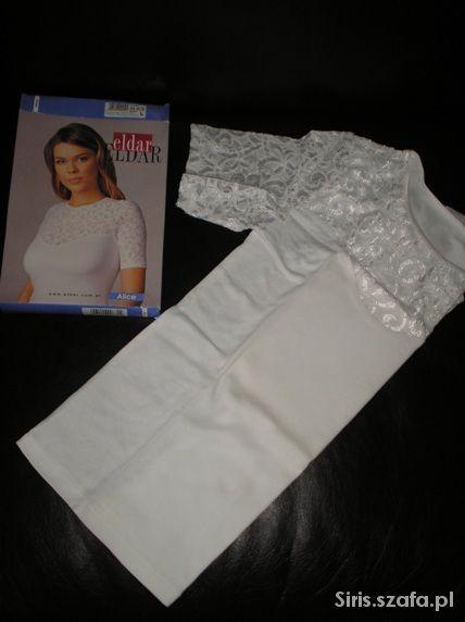 Nowa biała koszulka bawełniana z koronką