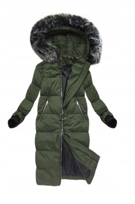 Odzież wierzchnia PŁASZCZ PUCHOWY khaki długa kurtka zimowa r 42