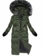 PŁASZCZ PUCHOWY khaki długa kurtka zimowa r 42...