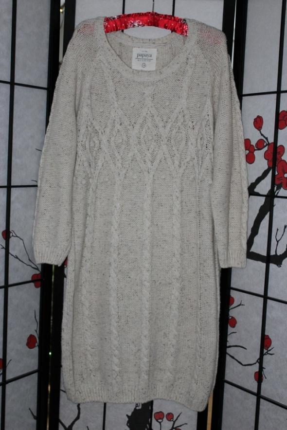 sukienka długa midi sweter warkocze wzór melanż