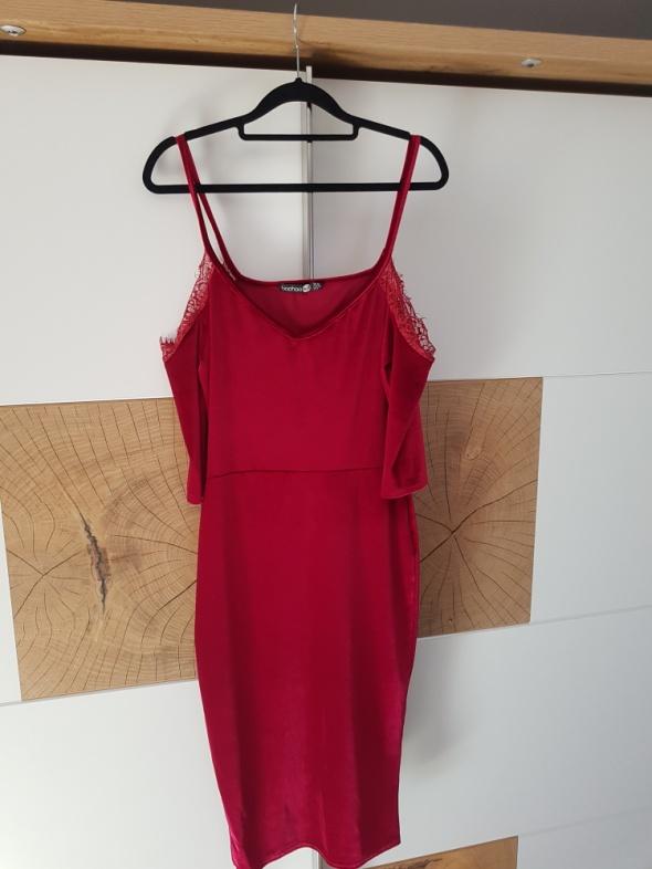 welurowa sukienka boohoo