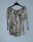 Idealna ciemnozielona bluzka w kwiatki...