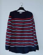 Idealny granatowy sweter w paski...