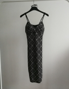 Sukienka dopasowana na ramiączkach czarno srebrna New Look...