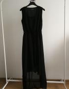 Suknia wieczorowa czarna Select szyfon asymetryczna maxi...