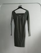 Sukienka khaki dopasowana Wassyl długi rękaw...