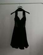 Czarna sukienka welurowa Asos Petite wieczorowa siatka dekolt...