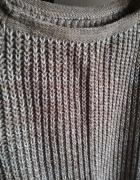 Sweter beżowy ze złotą nitką zimowy L...