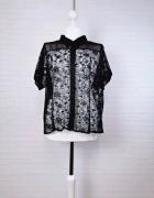 16 44 2XL Select Plus Size Czarna koronkowa bluzeczka krótki rę...