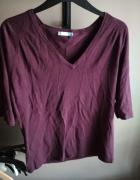 Bordowy sliwkowy sweter vero moda L w serek...