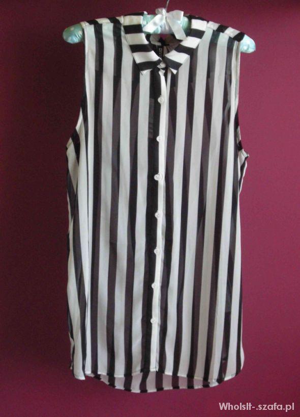 Koszule H&M koszula mgiełka w czarno białe pasy Z METKĄ