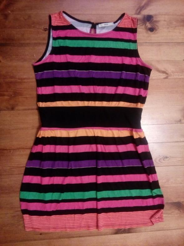 Kolorowa sukienka paski L XL