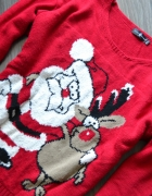 świąteczny sweter mikołaj renifer rudolf 38 40...