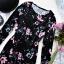 Kappahl Elegancka Czarna Mini Sukienka Welurowa Aksamitna Pastelowe Kwiaty Floral Pastel Gothic