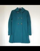 Zimowy płaszcz H&M 38 M retro zielony turkusowy wełna baby doll...
