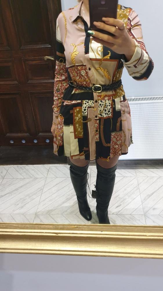 Suknie i sukienki Zara patchworkowa sukienka w łańcuchy nowa z metką