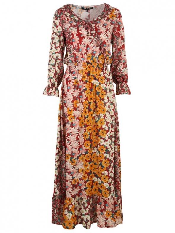 kolorowa jesienna sukienka w kwiaty Top Secret