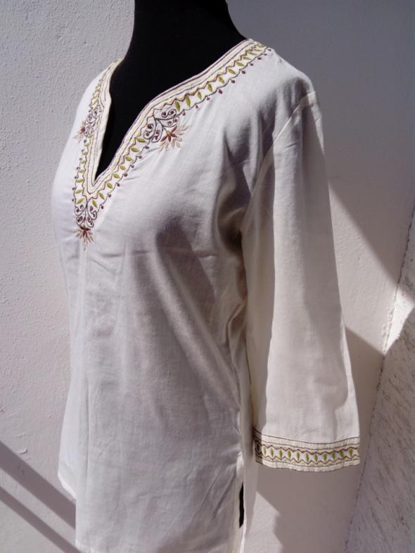 Bluzka tunika koszula boho roślinny haft S