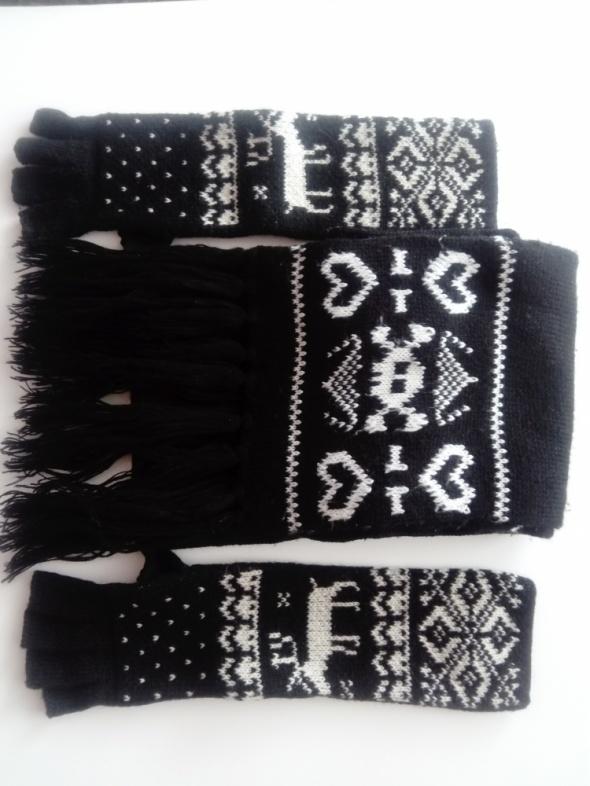 komplet szalik plus długie rękawiczki bez palców
