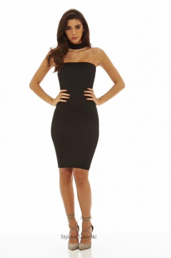 Suknie i sukienki Seksowna mała czarna gorsetowy dekolt ze stójką