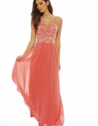 Koralowa gorsetowa sukienka z szyfonu...