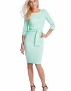 Miętowa wyszczuplająca sukienka midi ołówkowa
