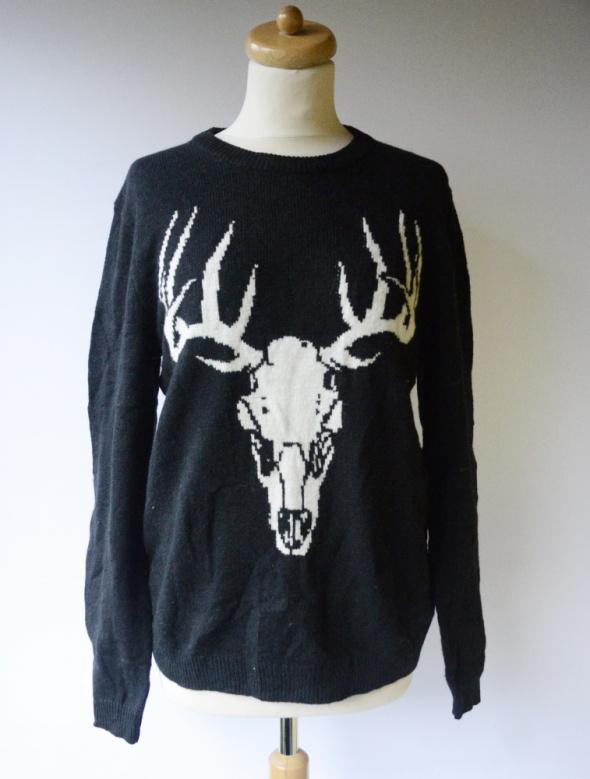 Sweter Czarny H&M M 38 Welna Wełniany Jeleń Wool Blend