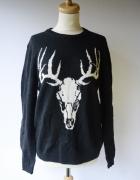 Sweter Czarny H&M M 38 Welna Wełniany Jeleń Wool Blend...