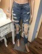 Spodnie jeans dziury XXS mom jeans...