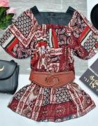 Bluzka Tunika Kolorowe Wzory Boho Etno Hippie Aztec India Retro...