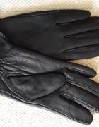 Rękawiczki męskie skórzane skóra wełna wełniane ocieplane rozmi...