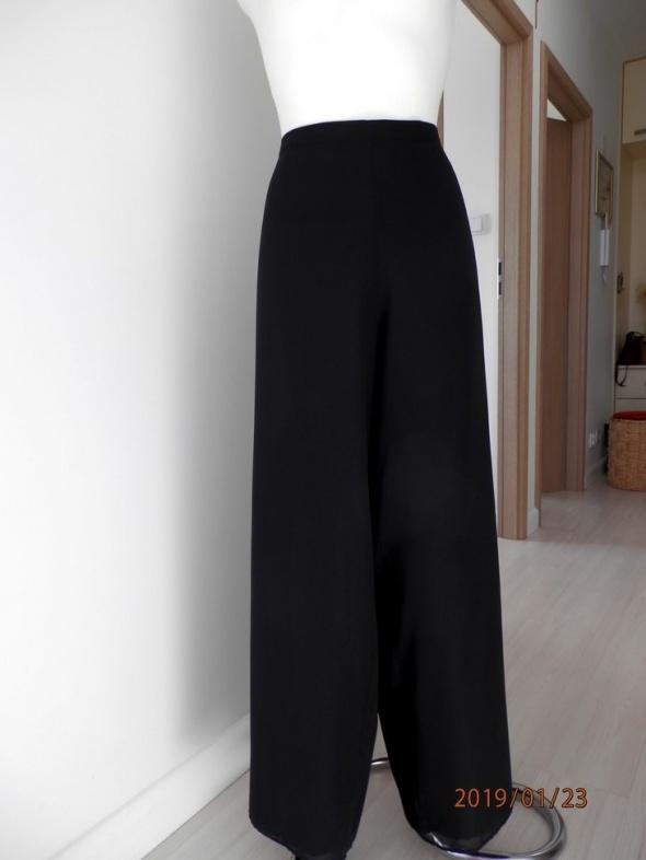 Spodnie Czarne Szyfonowe Nogawki Szerokie Palazzo Imprezowe Wieczorowe by UK 44