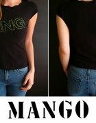 Czarna koszulka z cekinowym napisem Mango 36 s...