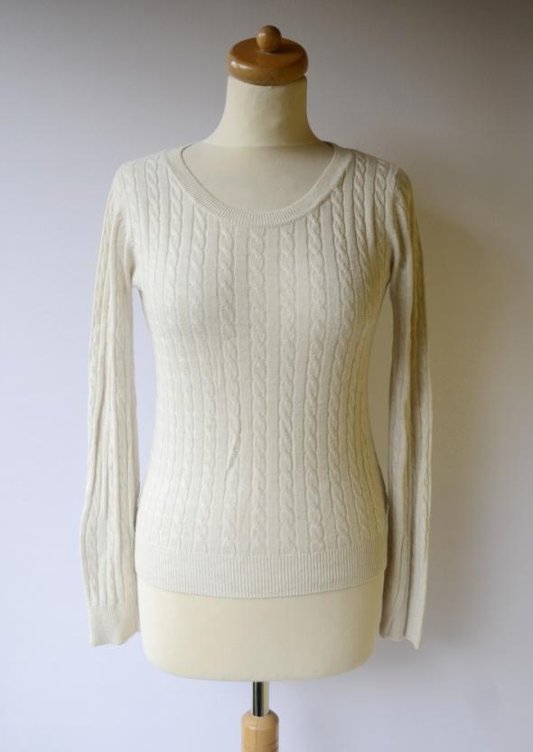 Sweter H&M Basic XS 34 Beżowy Warkocze Beż