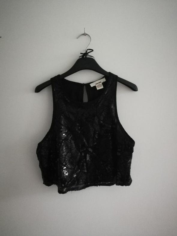 Czarna krótka bluzka top wieczorowa cekinowa cekiny