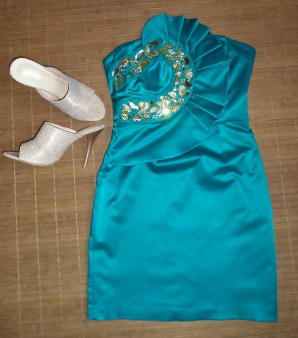 Sukienka wieczorowa turkusowa
