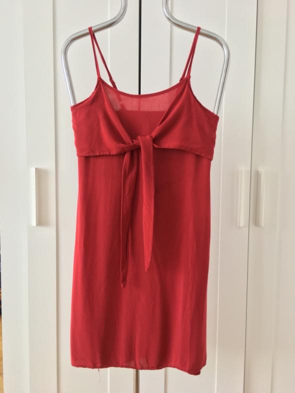 Włoska przewiewna czerwona sukienka letnia rozm S M L