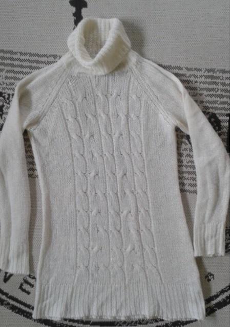 Modna TUNIKA SWETROWA Z GOLFEM 40 Sukienka biała L
