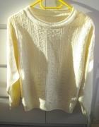sweter ażurowy z dzianiny ecru śmietankowy S M...