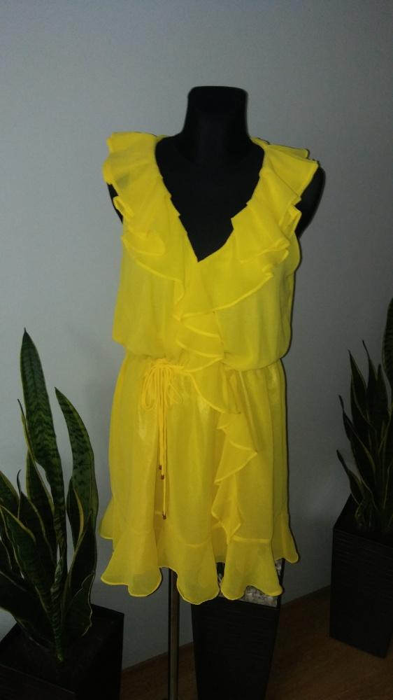 Sukienka falbanki kopertowa