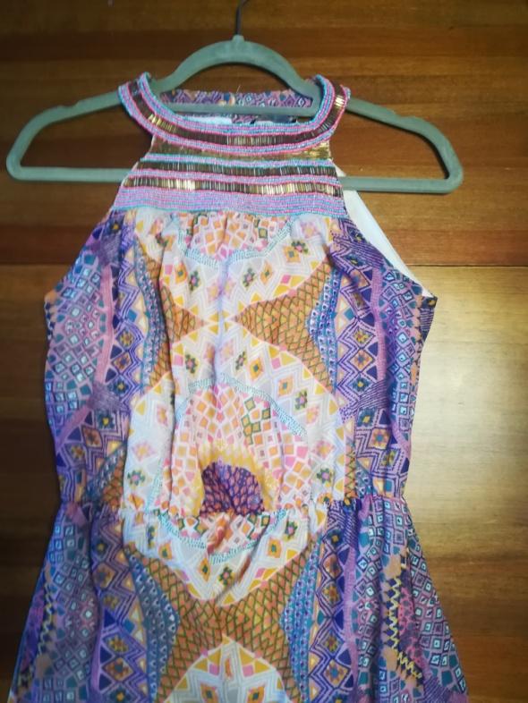 Suknie i sukienki Maxi sukienka w piękny print zdobiony dekolt