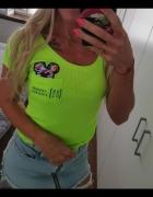 Bluzeczka limonkowa neon cekinowa myszka...