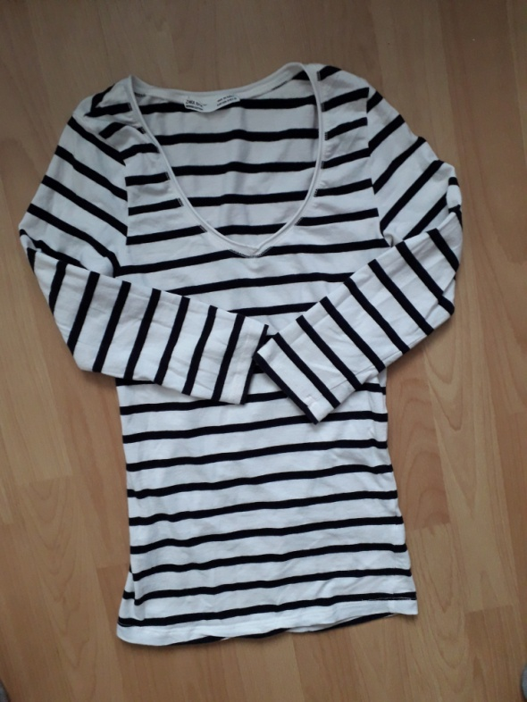 bluza w paski biała czarna