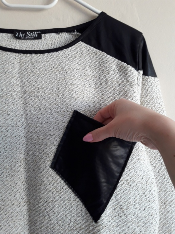 Sweterek z wstawkami ze skóry ekologicznej