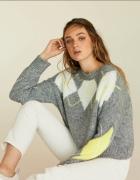 Nowy popielaty sweter z modnym neonowym wzorem Stradivarius M L...