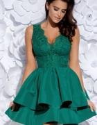 Sukienka balowa z koronką i falbanami marki Bicotone cudna ziel...