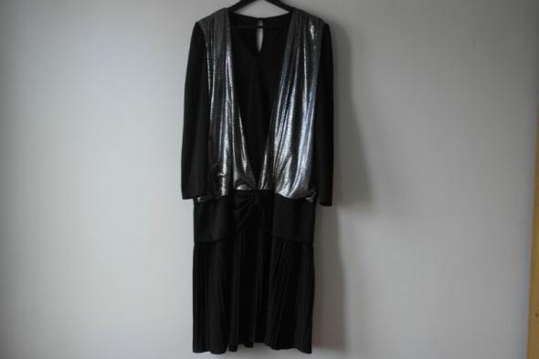 C&A czarna sukienka elegancka zdobiona r 48