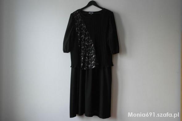śliczna sukienka czarna ze srebrnym wzorem r 46